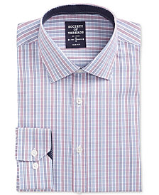 Society of Threads Men's Slim-Fit Performance Stretch Ground Check Dress Shirt