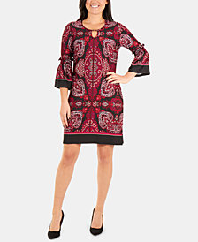 NY Collection Petite Printed Keyhole-Neck Dress