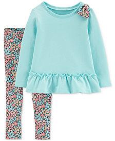 Carter's Toddler Girls 2-Pc. Peplum Tunic & Floral-Print Leggings Set