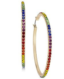 I.N.C. Gold-Tone Rainbow Crystal Hoop Earrings, Created for Macy's
