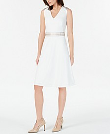 Petite Ribbon-Trim A-Line Dress