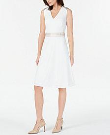 Calvin Klein Petite Ribbon-Trim A-Line Dress