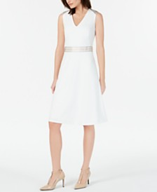 Calvin Klein Ribbon-Trim A-Line Dress