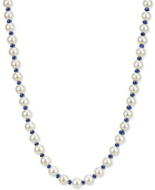 "Cultured Freshwater Pearl (8mm) and Sapphire (28-1/2 ct. t.w.) 18"" Necklace in 14k Gold"