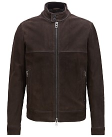 BOSS Men's Full-Zip Leather Jacket