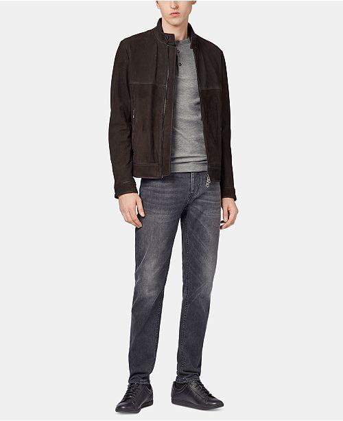 36d171af8 Hugo Boss BOSS Men's Slim Fit Long-Sleeve Cotton Henley Shirt ...