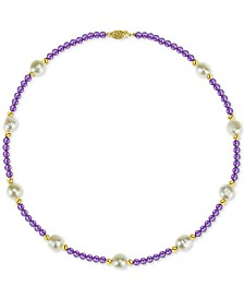 "Cultured Freshwater Baroque Pearl (10mm) and Amethyst (36 ct. t.w.) 18"" Necklace in 14k Gold"
