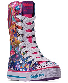 Skechers Little Girls' Twinkle Toes: Twinkle Lite - Pocket Party Super High Top Casual Sneakers from Finish Line