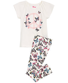 Epic Threads Little Girls Peace & Butterflies T-Shirt & Butterly-Print Leggings Separates, Created for Macy's