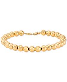 Polished Bead Bracelet in 14k Gold