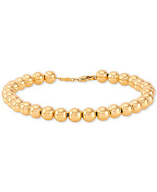 Polished Bead Bracelet in 14k Gold
