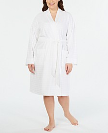 Plus Size Striped Texture Knit Robe, Created for Macy's