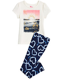 Epic Threads Little Girls Sunset Graphic Top & Heart-Print Leggings Separates, Created for Macy's
