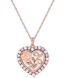 "Mother of Pearl (16mm) Rose Cameo 18"" Necklace in 18k Rose Gold over Sterling Silver"