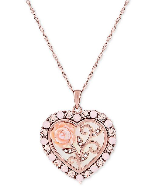 "Macy's Mother of Pearl (16mm) Rose Cameo 18"" Necklace in 18k Rose Gold over Sterling Silver"
