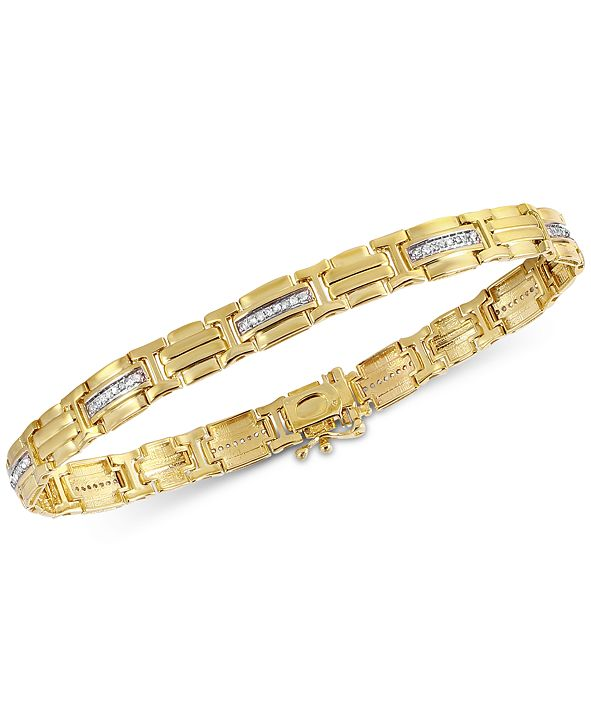 Macy's Men's Diamond (3/8 ct. t.w.) Bracelet in 10k Gold