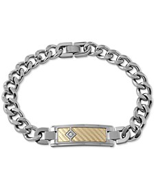 Men's Diamond Accent ID Bracelet in 18k Gold & Stainless Steel