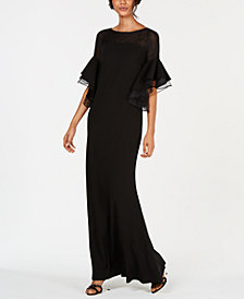 Calvin Klein Tiered Bell-Sleeve Illusion Gown