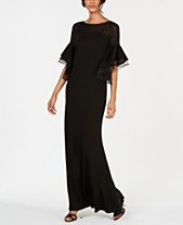 b28931ab68e2 Calvin Klein Tiered Bell-Sleeve Illusion Gown