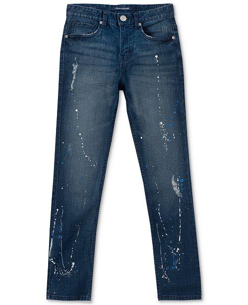 Calvin Klein Big Boys Skinny-Fit Paint Splatter Jeans