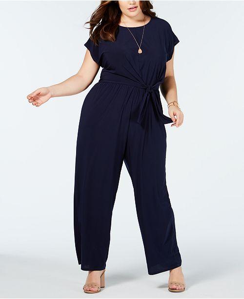Love Squared Trendy Plus Size Tie-Front Jumpsuit