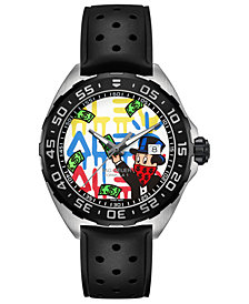 TAG Heuer Men's Swiss Formula 1 Alec Monopoly Black Rubber Strap Watch 41mm - Limited Edition