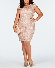 Alex Evenings Plus Size Cap-Sleeve Sequined Sheath Dress
