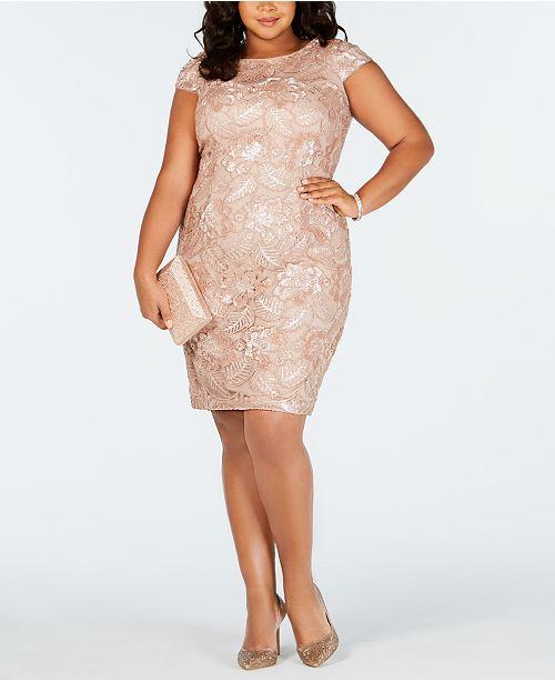 d818a5994b07 Alex Evenings Plus Size Cap-Sleeve Sequined Sheath Dress & Reviews ...