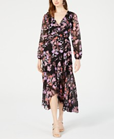 Bar III Floral-Print Wrap Dress, Created for Macy's