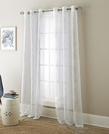 "Riverson Semi Sheer Grommet Curtain Panel Pair, White/Metallic, 37 x 84"""