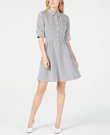 Maison Jules Striped Fit & Flare Shirtdress, Created for Macy's
