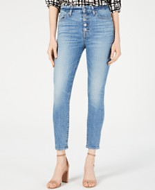 7 For All Mankind High-Waist Button-Fly Ankle Skinny Jeans