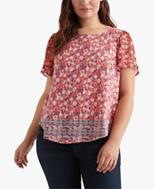 Lucky Brand Plus Size Floral-Print Back-Cutout Top