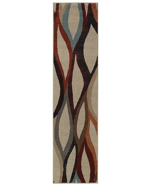 "Oriental Weavers CLOSEOUT!  Adrienne 4178B Stone/Multi 1'10"" x 7'6"" Runner Area Rug"