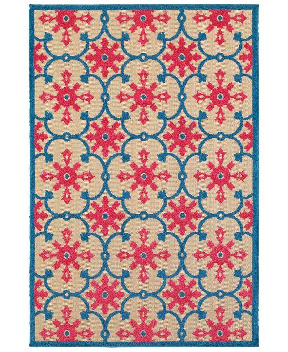 """Oriental Weavers Cayman 190L9 Sand/Pink 1'10"""" x 3'3"""" Indoor/Outdoor Area Rug"""