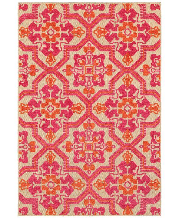 """Oriental Weavers Cayman 2541V Sand/Pink 1'10"""" x 3'3"""" Indoor/Outdoor Area Rug"""