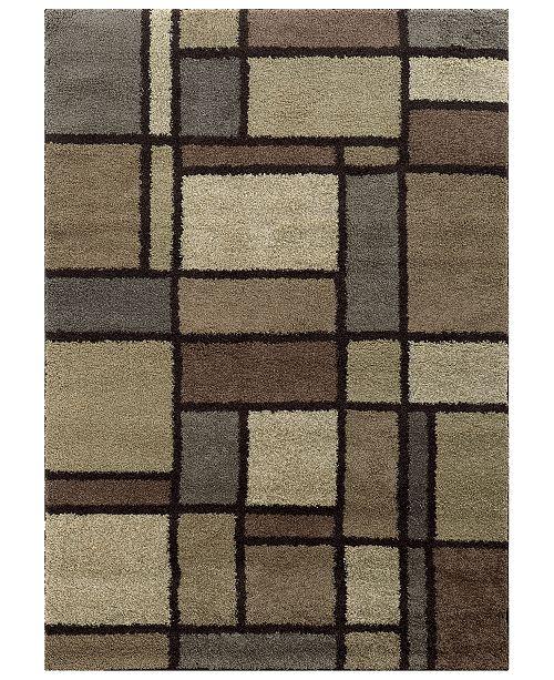 """Oriental Weavers Covington Shag 5502I Beige/Midnight 3'3"""" x 5'5"""" Area Rug"""
