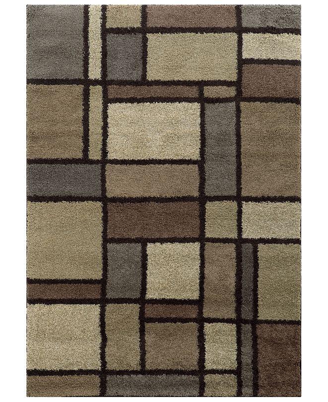 """Oriental Weavers Covington Shag 5502I Beige/Midnight 7'10"""" x 10'10"""" Area Rug"""
