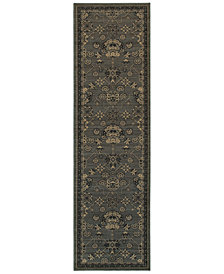 """Oriental Weavers Foundry 4923E Gray/Charcoal 2'7"""" x 9'4"""" Runner Area Rug"""