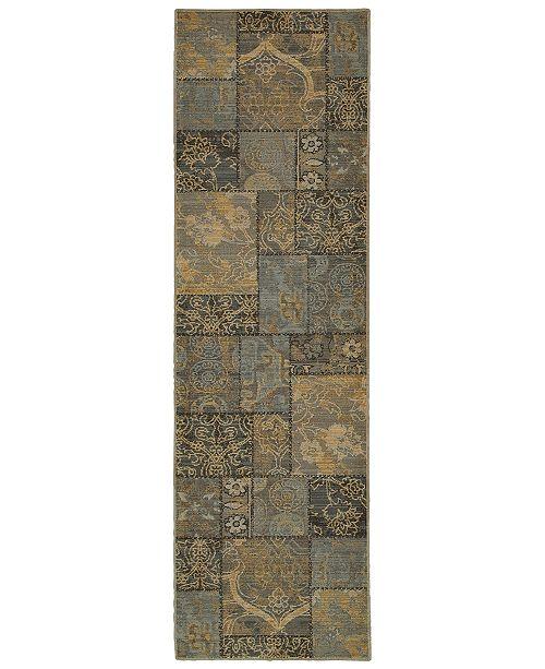 "Oriental Weavers Heritage 1336H Charcoal/Blue 2'7"" x 9'4"" Runner Area Rug"