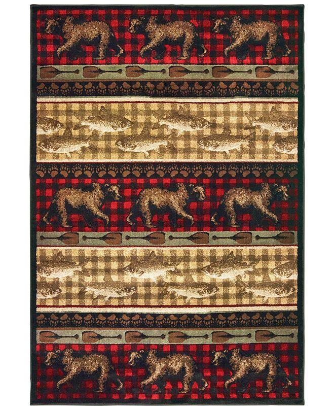 "Oriental Weavers Woodlands 9594B Red/Multi 5'3"" x 7'3"" Area Rug"