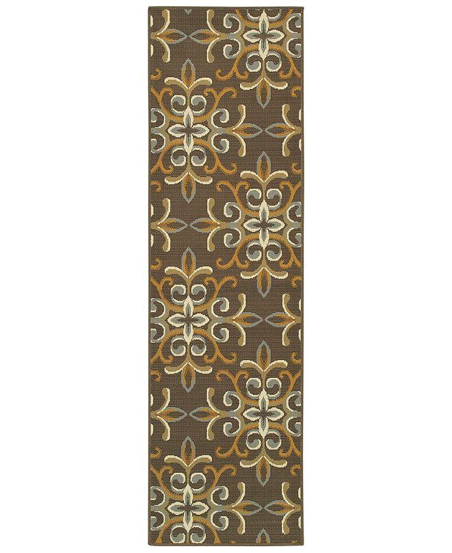 """Oriental Weavers Bali 8990H Gray/Gold 2'3"""" x 7'6"""" Indoor/Outdoor Runner Area Rug"""