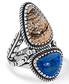 American West Picture Jasper and Blue Lapis Ring in Sterling Silver