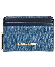MICHAEL Michael Kors Zip-Around Signature Denim Coin & Card Case, Created for Macy's