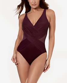 Miraclesuit Illusionist Crossover Allover Slimming One-Piece Swimsuit