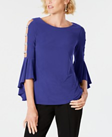 MSK Embellished Bell-Sleeve Top