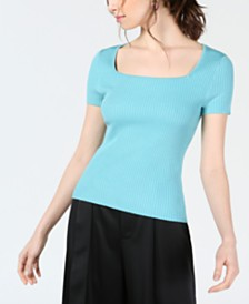 Bar III Square-Neck Ribbed Sweater Top, Created for Macy's