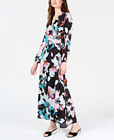 Bar III Floral Wrap Maxi Dress, Created for Macy's