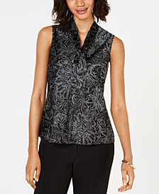 Kasper Petite Printed Tie-Neck Top