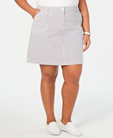 Karen Scott Plus Size Striped Mini Skort, Created for Macy's